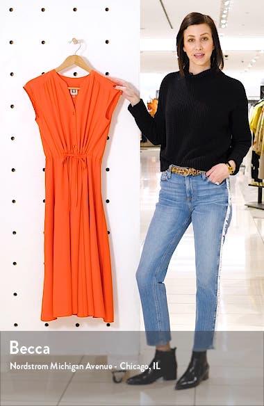 Split Neck Drawstring Midi Dress, sales video thumbnail