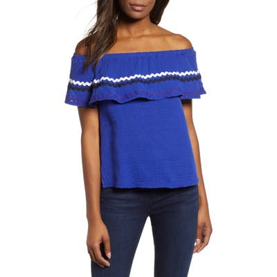 Petite Gibson X Hi Sugarplum! Santa Fe Rickrack Off The Shoulder Top, Blue (Regular & Petite) (Nordstrom Exclusive)
