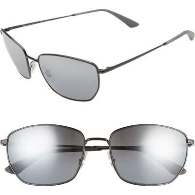 Ray-Ban 60Mm Polarized Sunglasses - Balck/ Grey Grad Sil Polar