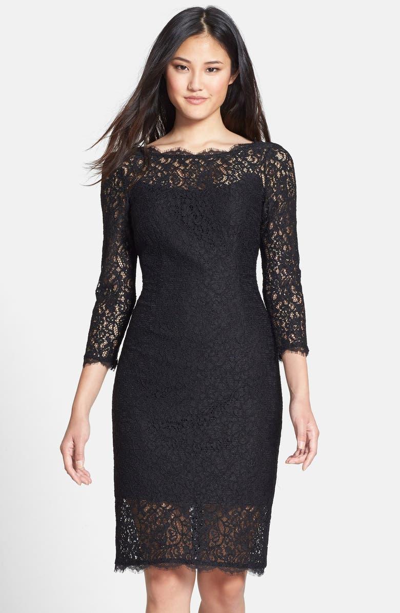 ADRIANNA PAPELL Illusion Lace Sheath Dress, Main, color, 001