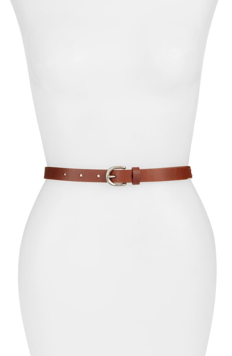TREASURE & BOND Double Whipstitch Leather Belt, Main, color, COGNAC