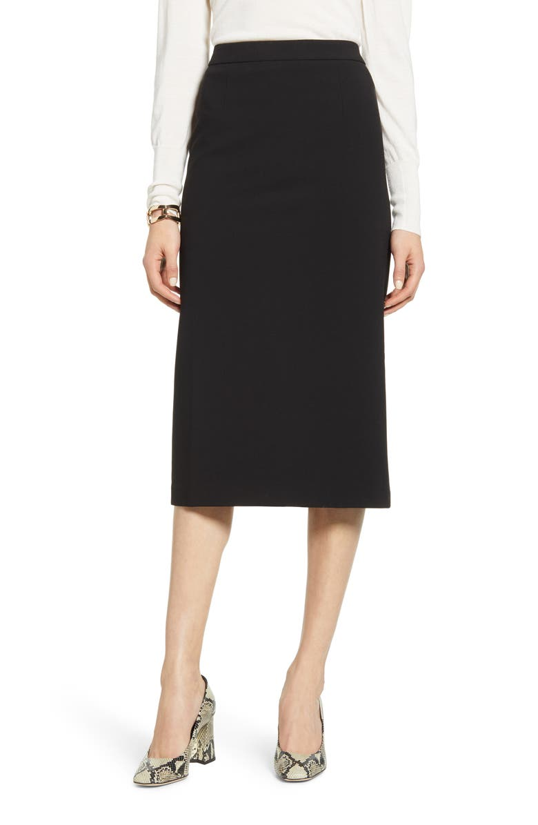 HALOGEN<SUP>®</SUP> Stretch Twill Pencil Skirt, Main, color, BLACK