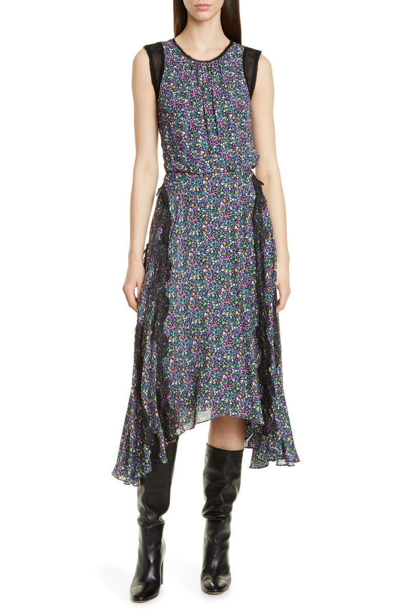 JASON WU Confetti Lace Shark Bite Hem Dress, Main, color, PURPPLE MULTI