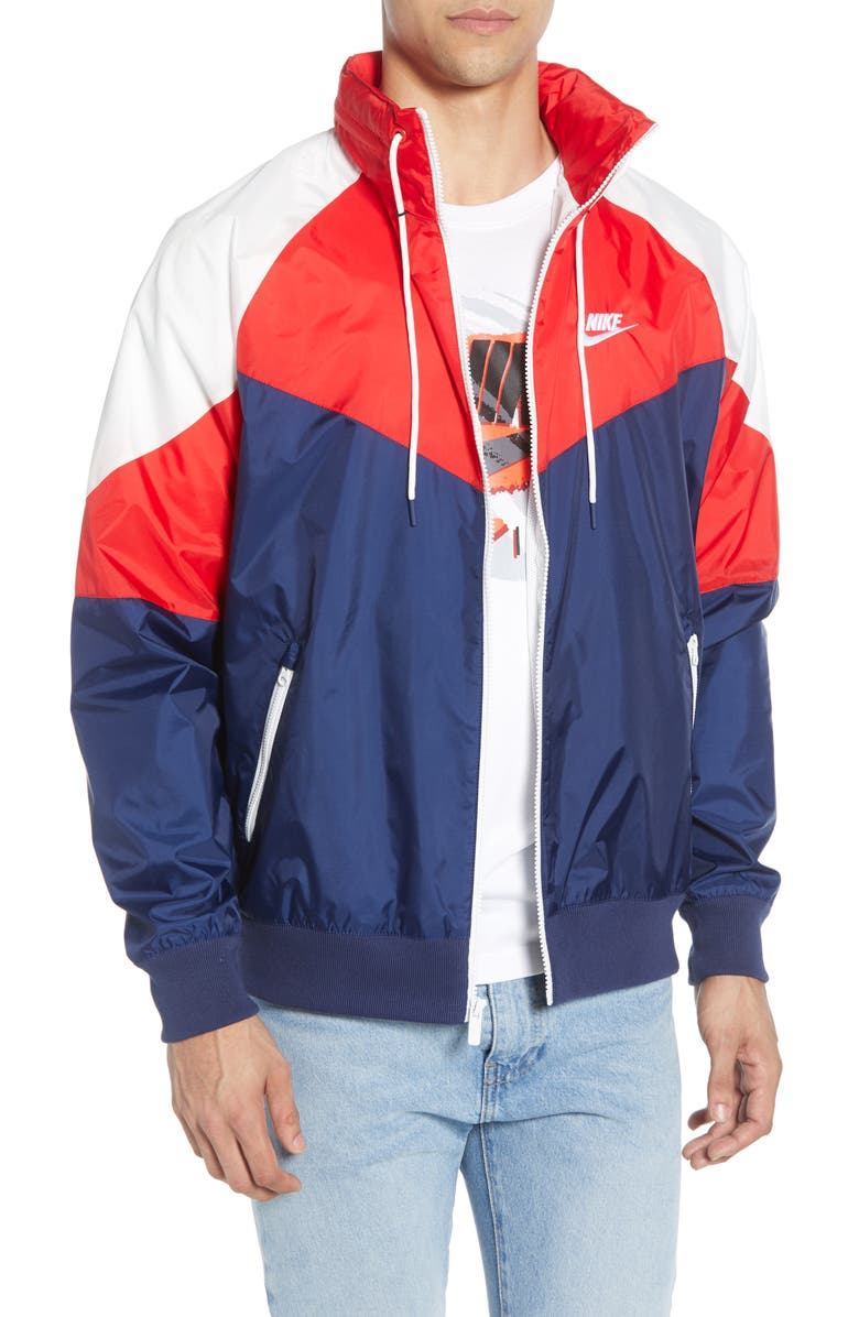 NIKE Windrunner Jacket, Main, color, MIDNIGHT NAVY/ RED/ WHITE