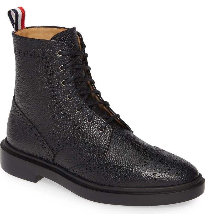THOM BROWNE Wingtip Boot, Main, color, BLACK
