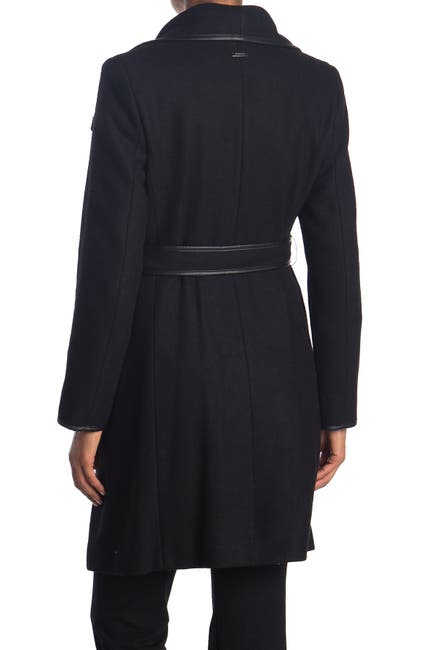 Image of DKNY Asymmetrical Belted Wool Coat