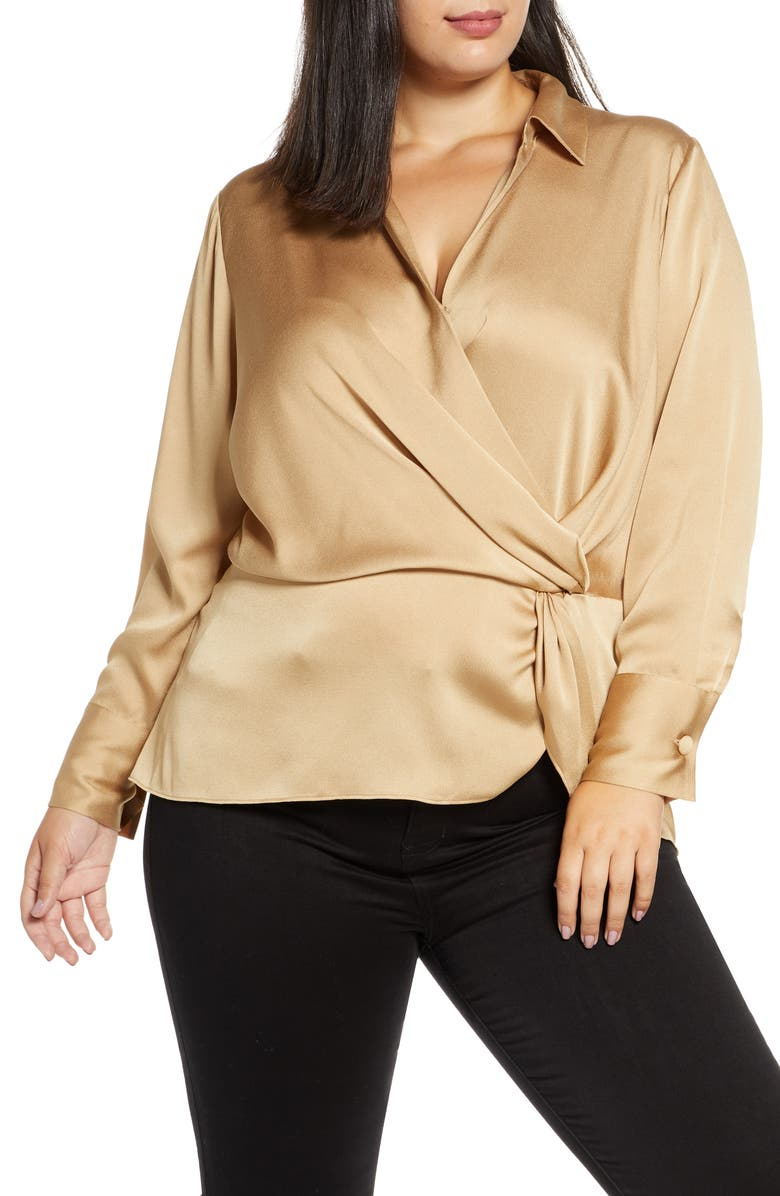 VINCE CAMUTO Twist Detail Hammered Satin Blouse, Main, color, LATTE
