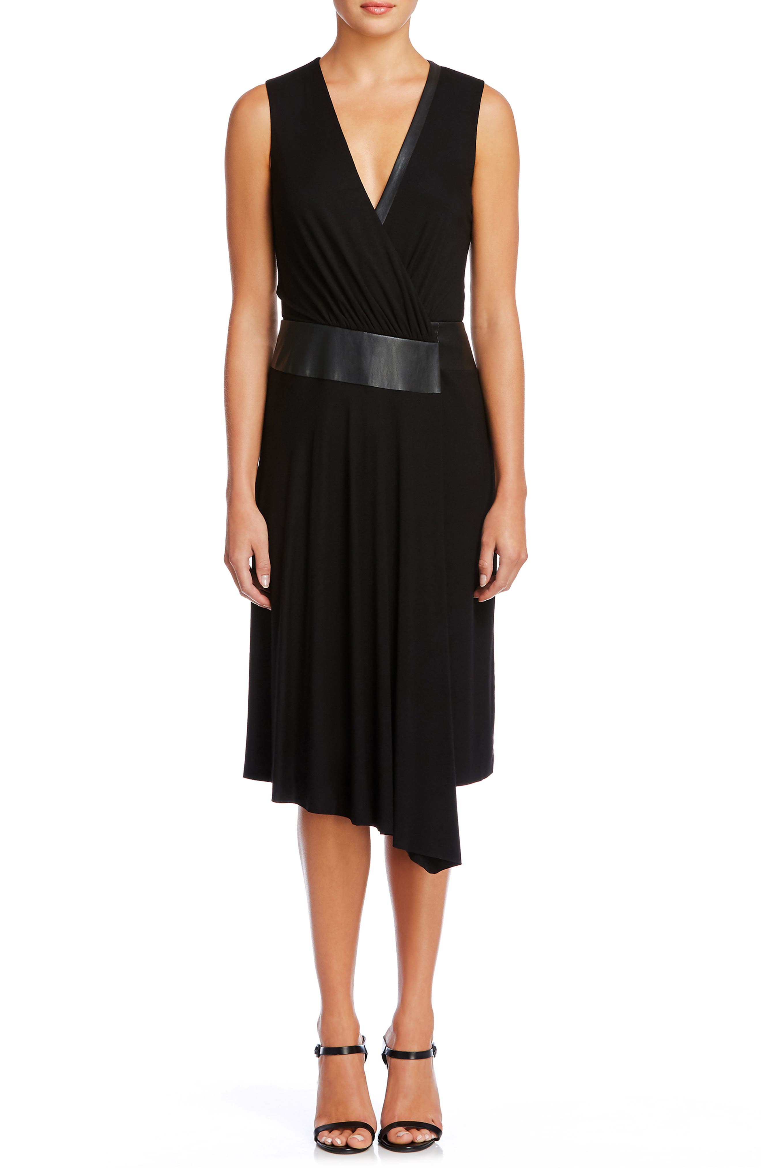 Sleeveless Faux Leather Dress