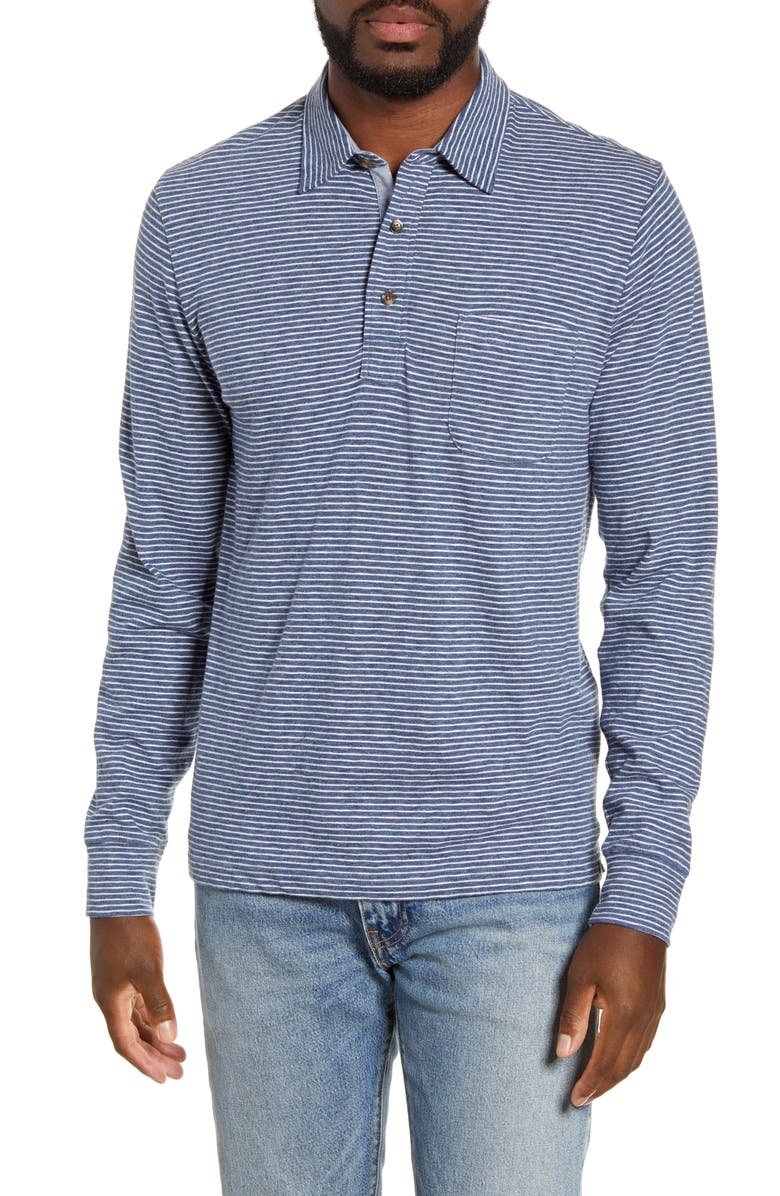 FAHERTY Luxe Regular Fit Stripe Long Sleeve Polo Shirt, Main, color, NAVY CREAM STRIPE