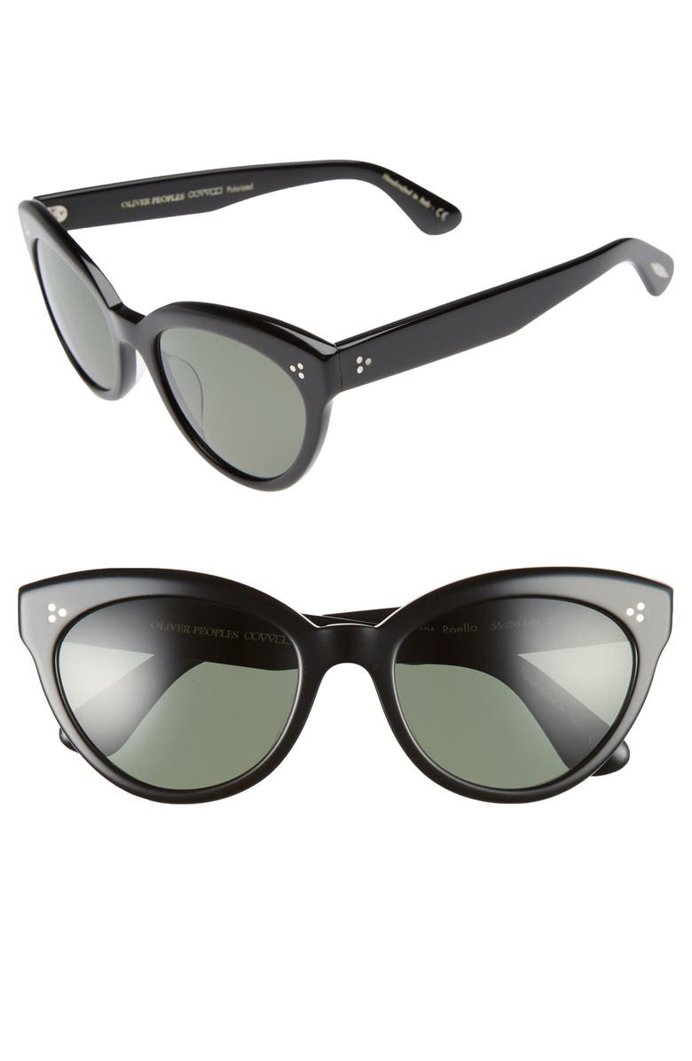 OLIVER PEOPLES Roella 55mm Polarized Cat Eye Sunglasses, Main, color, BLACK