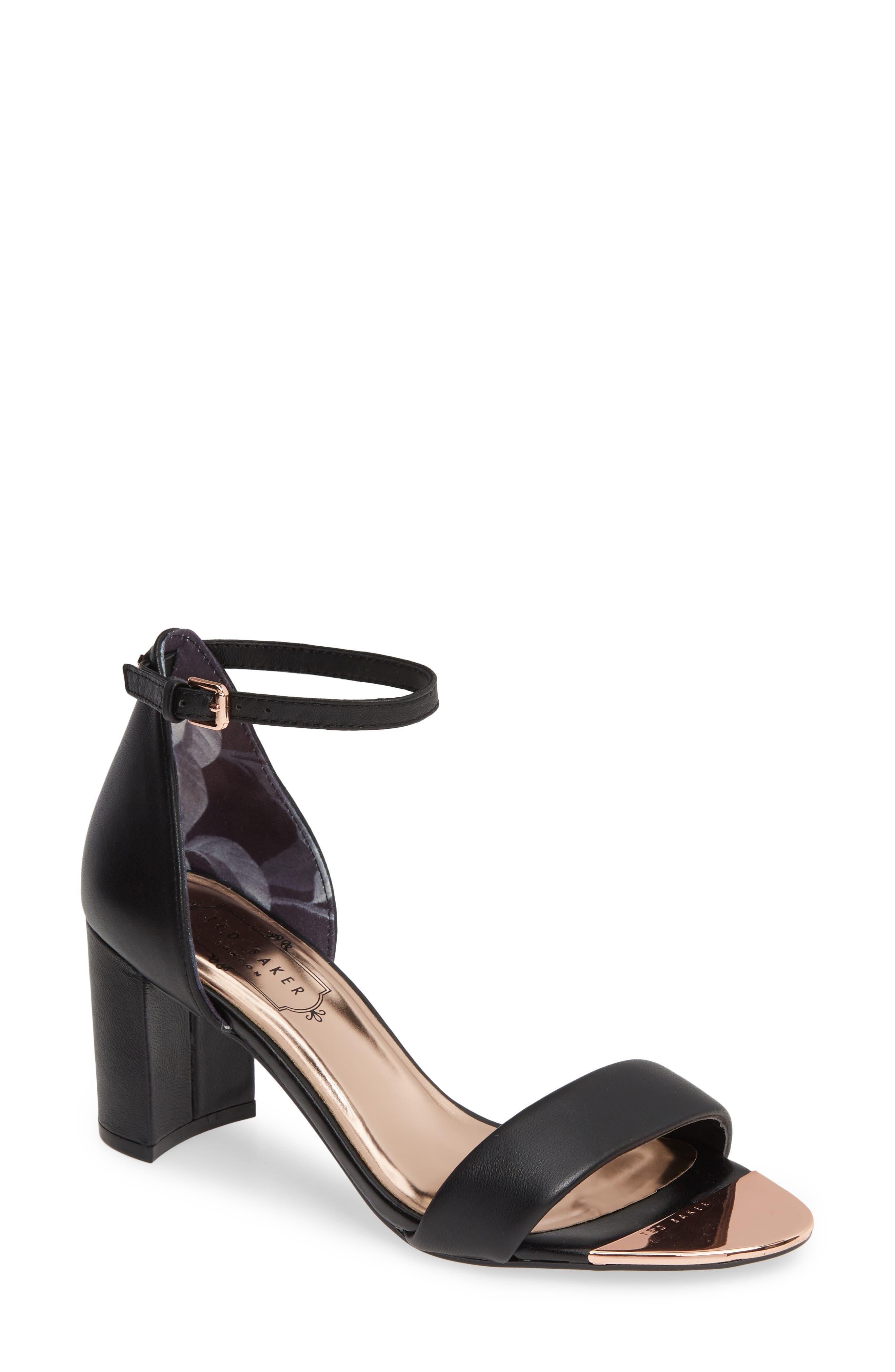 Shea Ankle Strap Sandal, Main, color, BLACK LEATHER