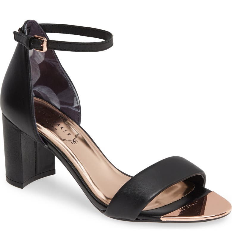 TED BAKER LONDON Shea Ankle Strap Sandal, Main, color, BLACK LEATHER
