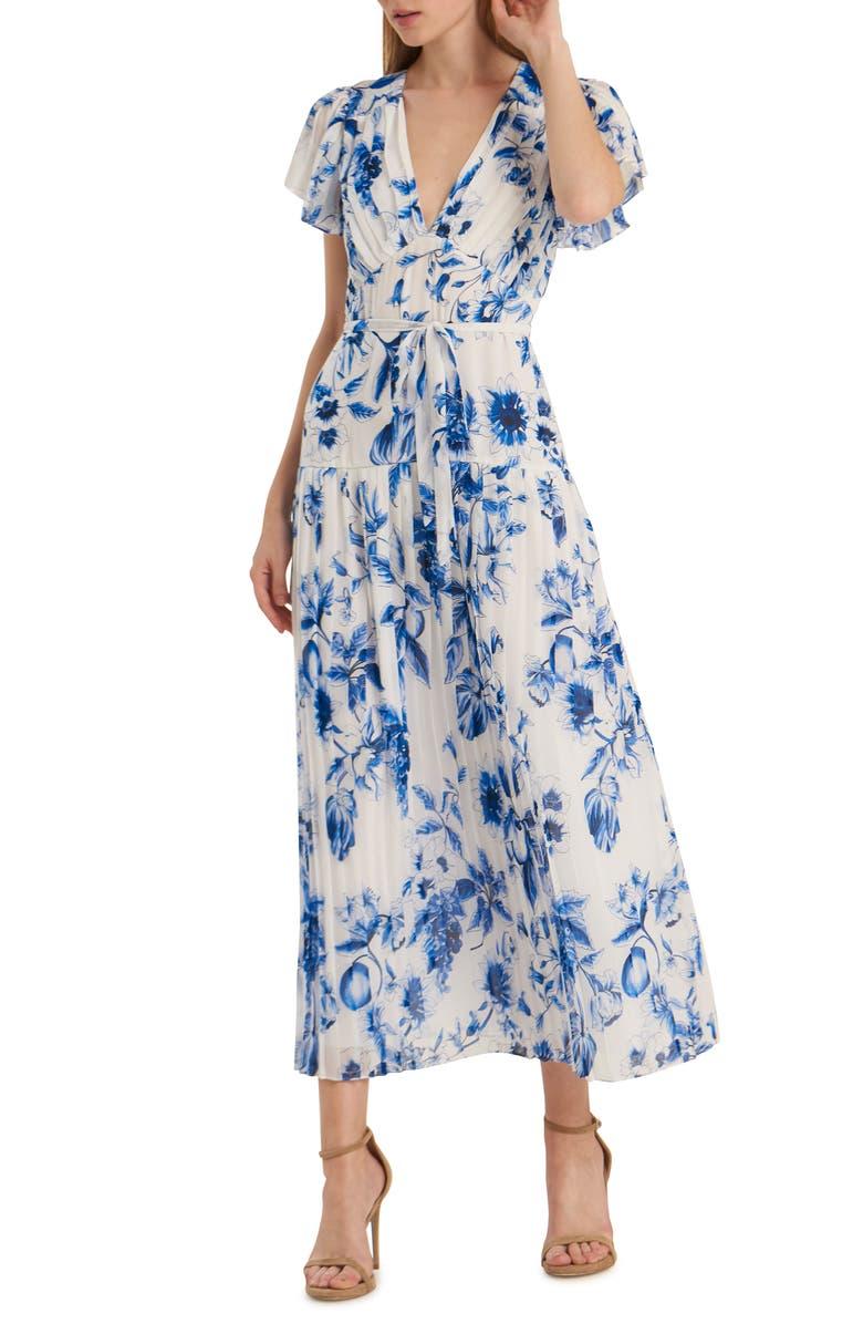 ML MONIQUE LHUILLIER Floral Pleated Tea Length Dress, Main, color, BLUE MULTI
