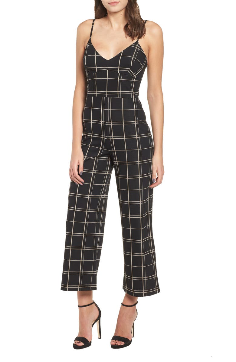 LEITH Windowpane Check Jumpsuit, Main, color, 001