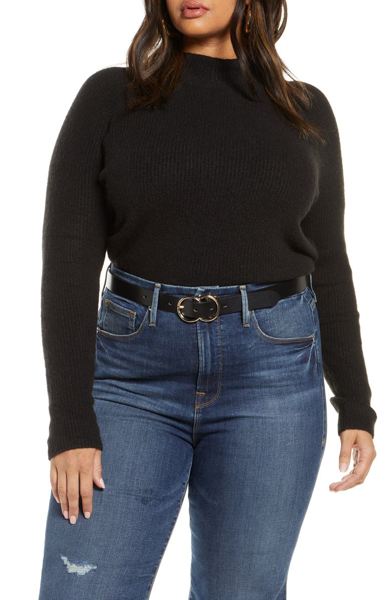 HALOGEN<SUP>®</SUP> Mock Neck Sweater, Main, color, BLACK