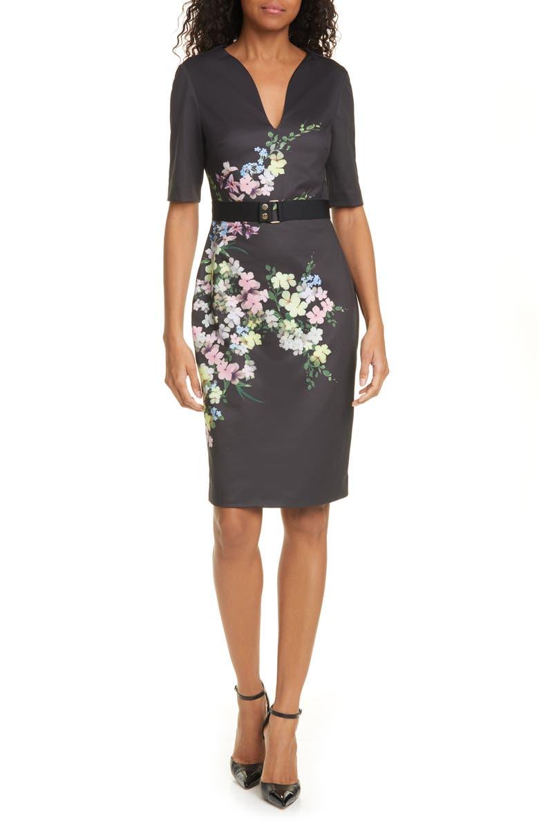 TED BAKER LONDON Soliaa Pergola Floral Body-Con Dress, Main, color, 001