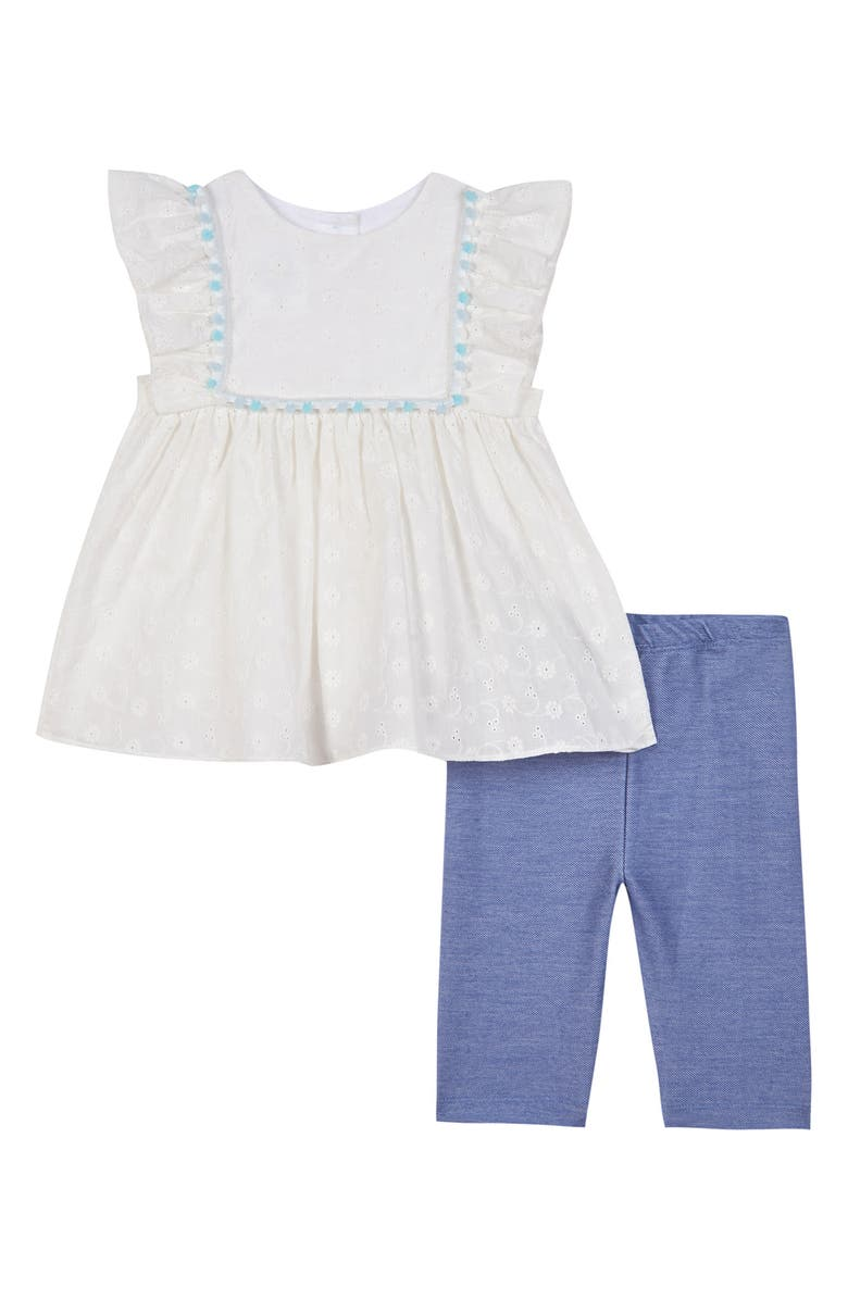 PIPPA & JULIE Eyelet Embroidered Top & Leggings Set, Main, color, WHITE