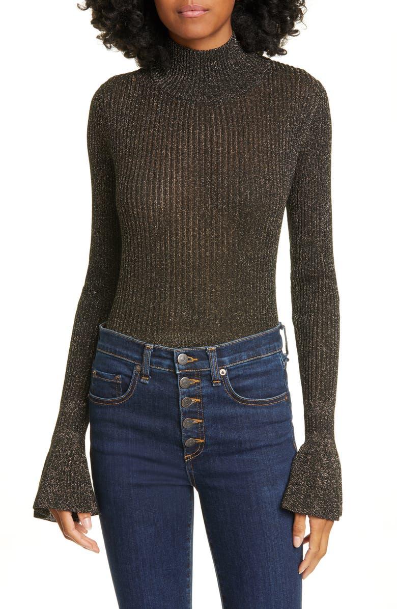 VERONICA BEARD Lilia Flare Cuff Metallic Turtleneck Sweater, Main, color, BLACK