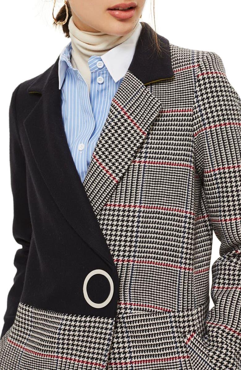 TOPSHOP Colorblock Check Wool Blend Coat, Main, color, 410