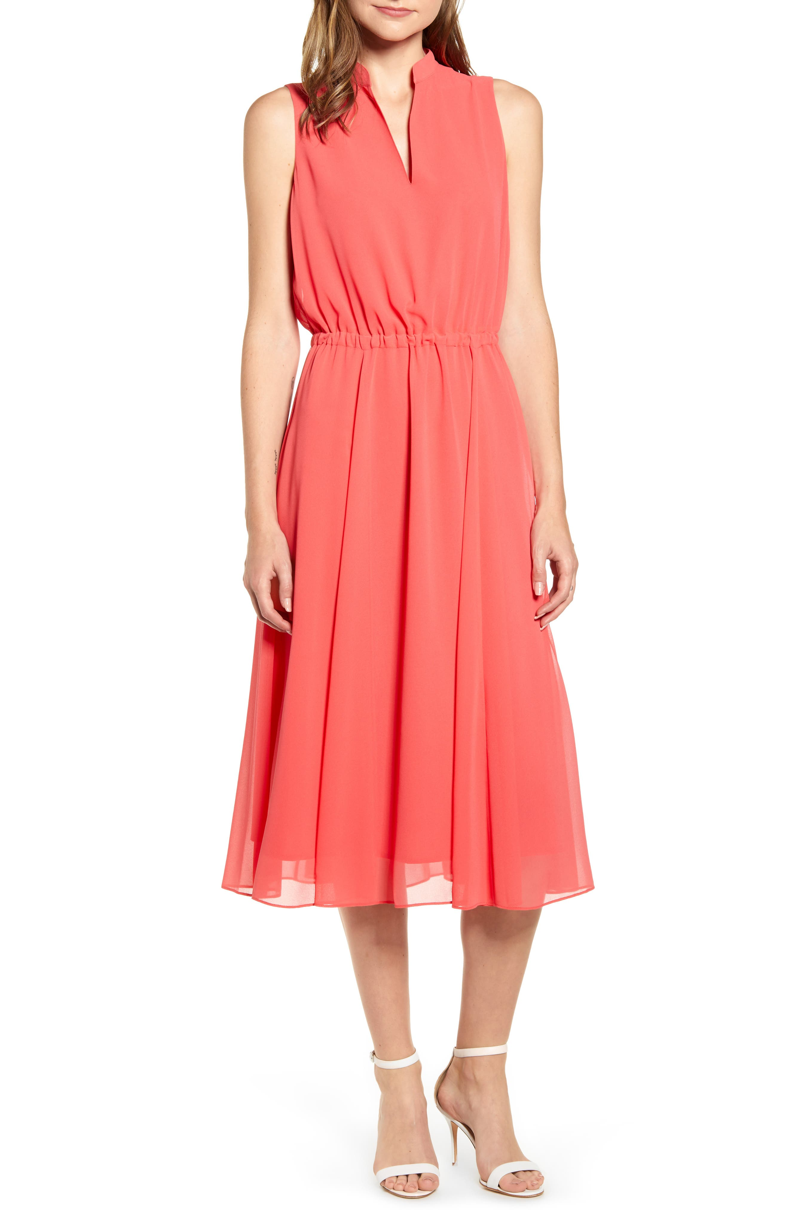 Anne Klein Drawstring Midi Dress, Pink