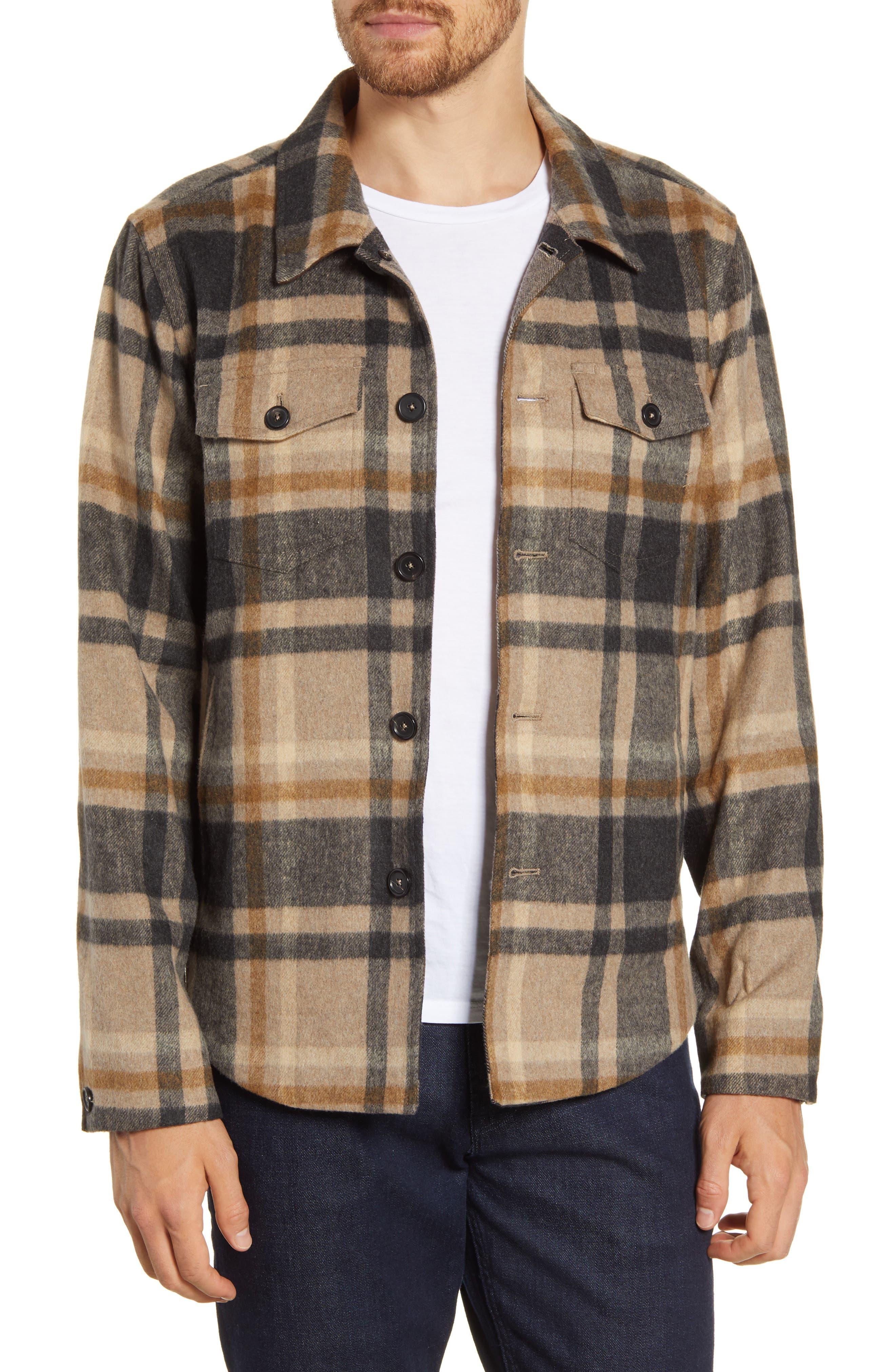 Standard Fit Plaid Button-Up Flannel Shirt Jacket