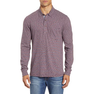Faherty Luxe Regular Fit Stripe Long Sleeve Polo Shirt, Red