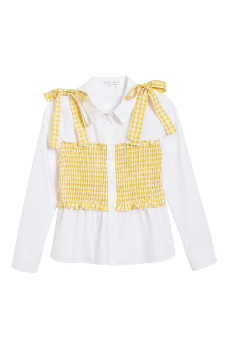 ENGLISH FACTORY Gingham Smocked Button-Up Shirt, Main, color, WHITE/ DANDELION