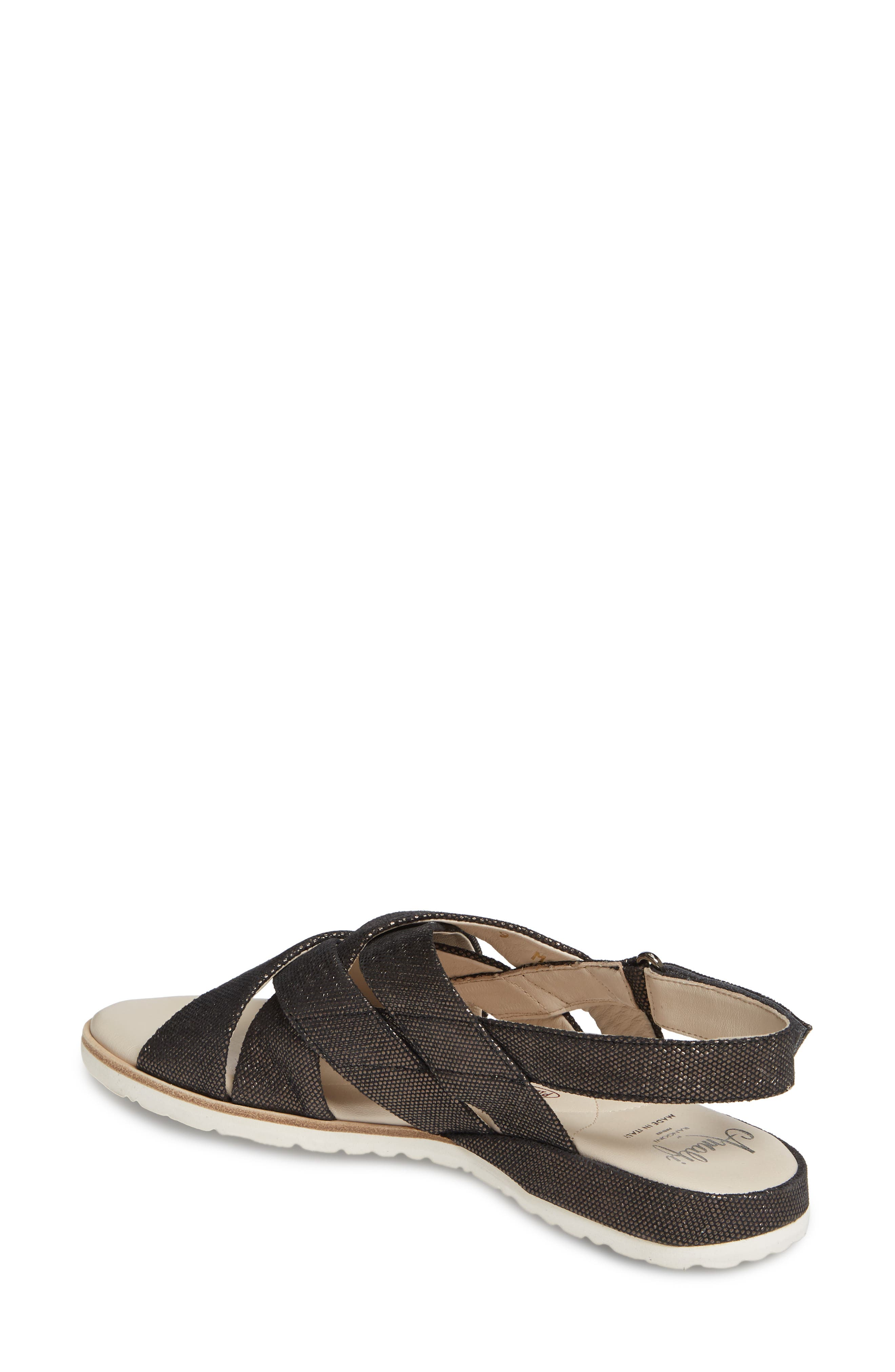 ,                             Biondina Textured Sandal,                             Alternate thumbnail 2, color,                             GRAPHITE LEATHER