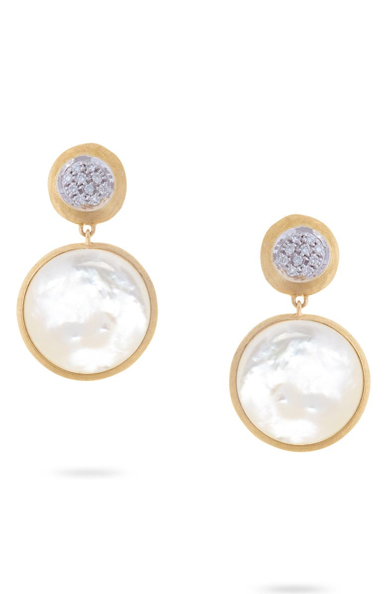 MARCO BICEGO Jaipur Diamond Drop Earrings, Main, color, YELLOW GOLD/ MOTHER OF PEARL