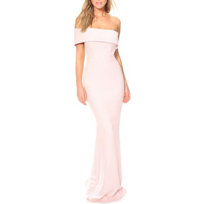 Katie May Titan One-Shoulder Cutout Crepe Gown, Pink