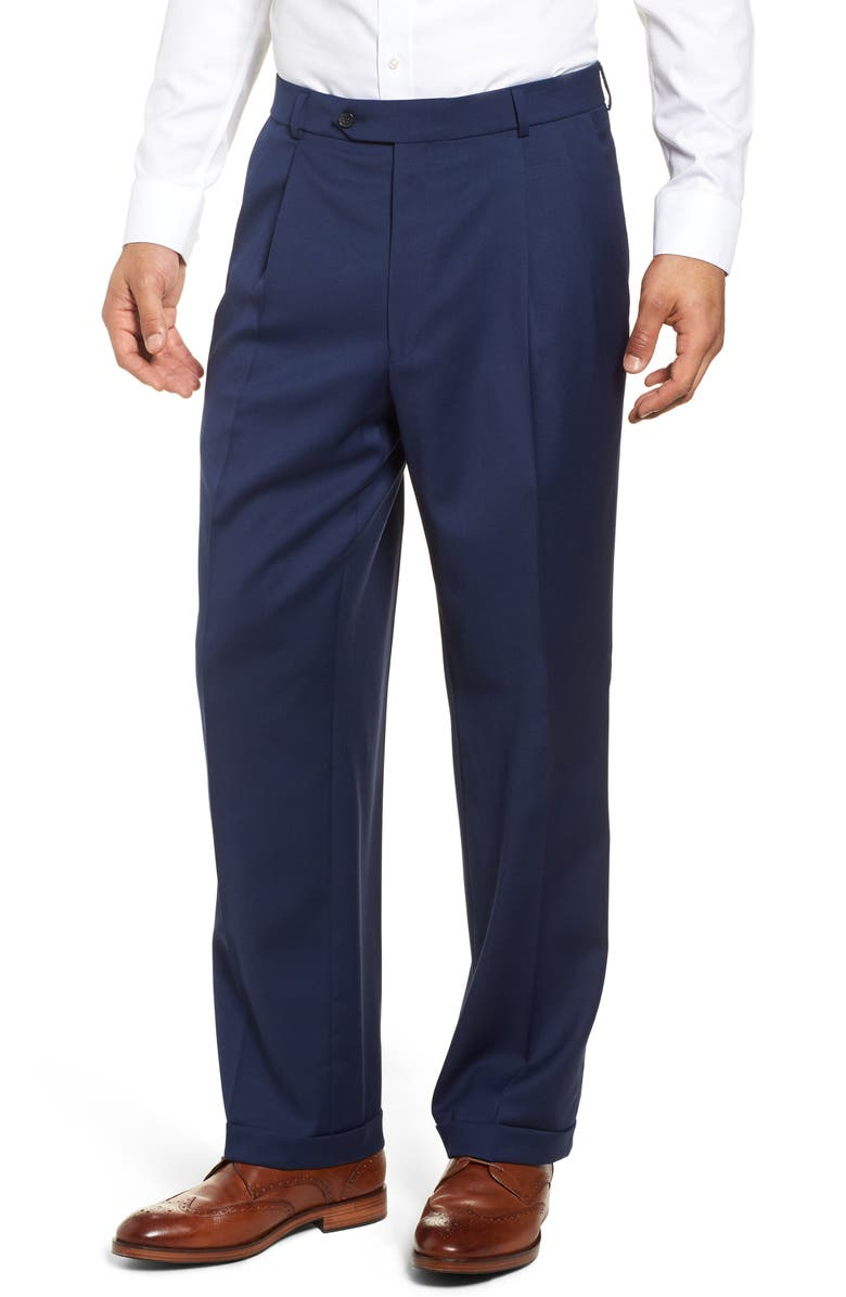 BALLIN Classic Fit Pleated Solid Wool Dress Pants, Main, color, MARINER
