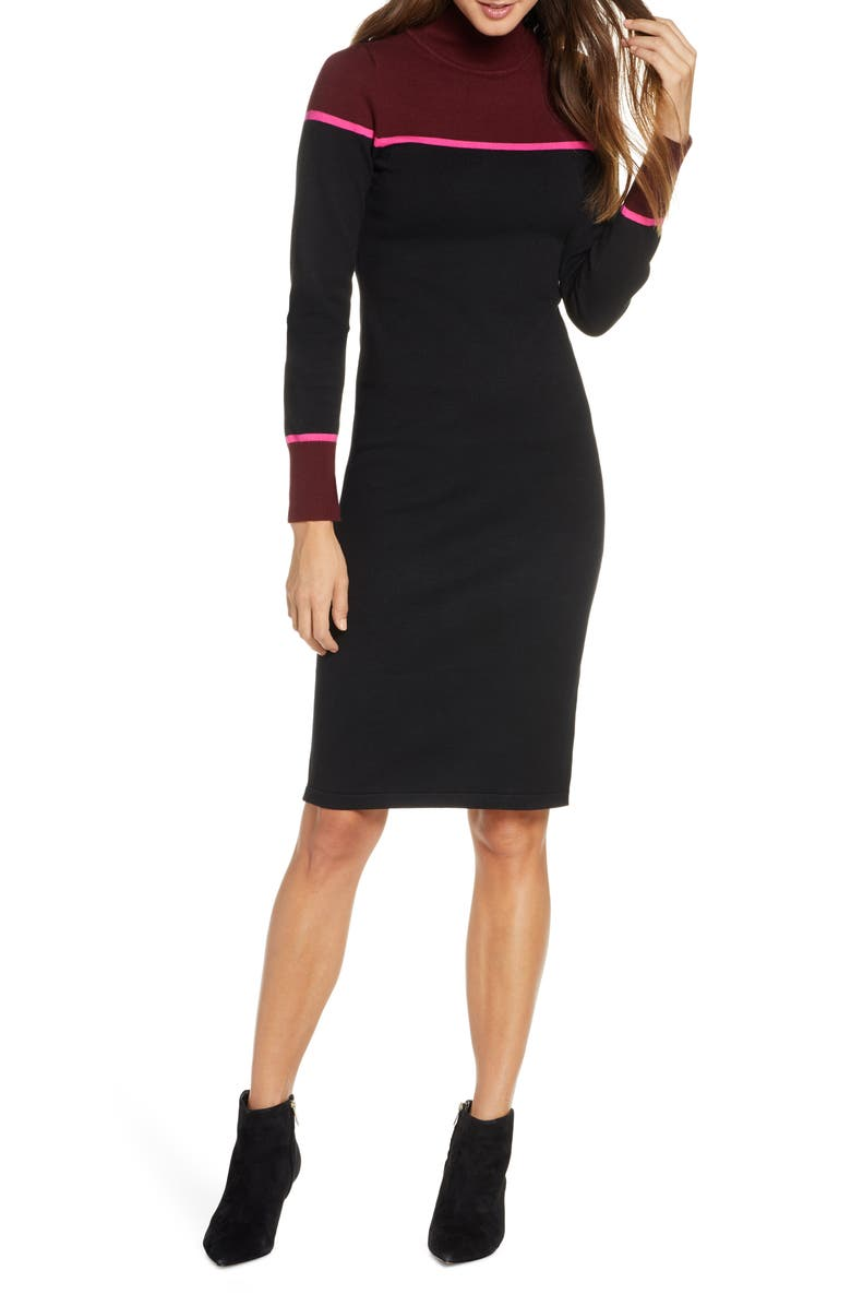VINCE CAMUTO Colorblock Mock Neck Long Sleeve Sweater Dress, Main, color, RED