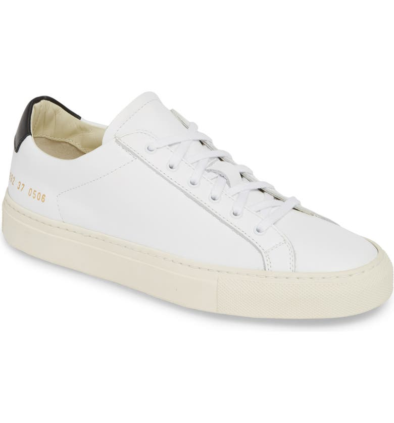 COMMON PROJECTS Retro Low Top Sneaker, Main, color, WHITE BLACK
