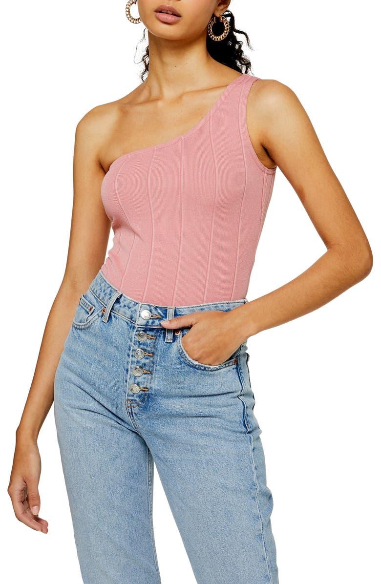 TOPSHOP One-Shoulder Bodysuit, Main, color, PINK