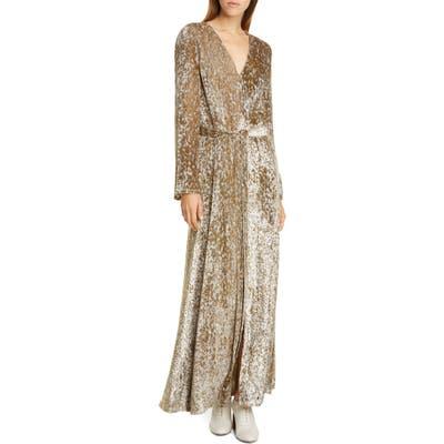 Co Belted Long Sleeve Metallic Velvet Gown, Metallic