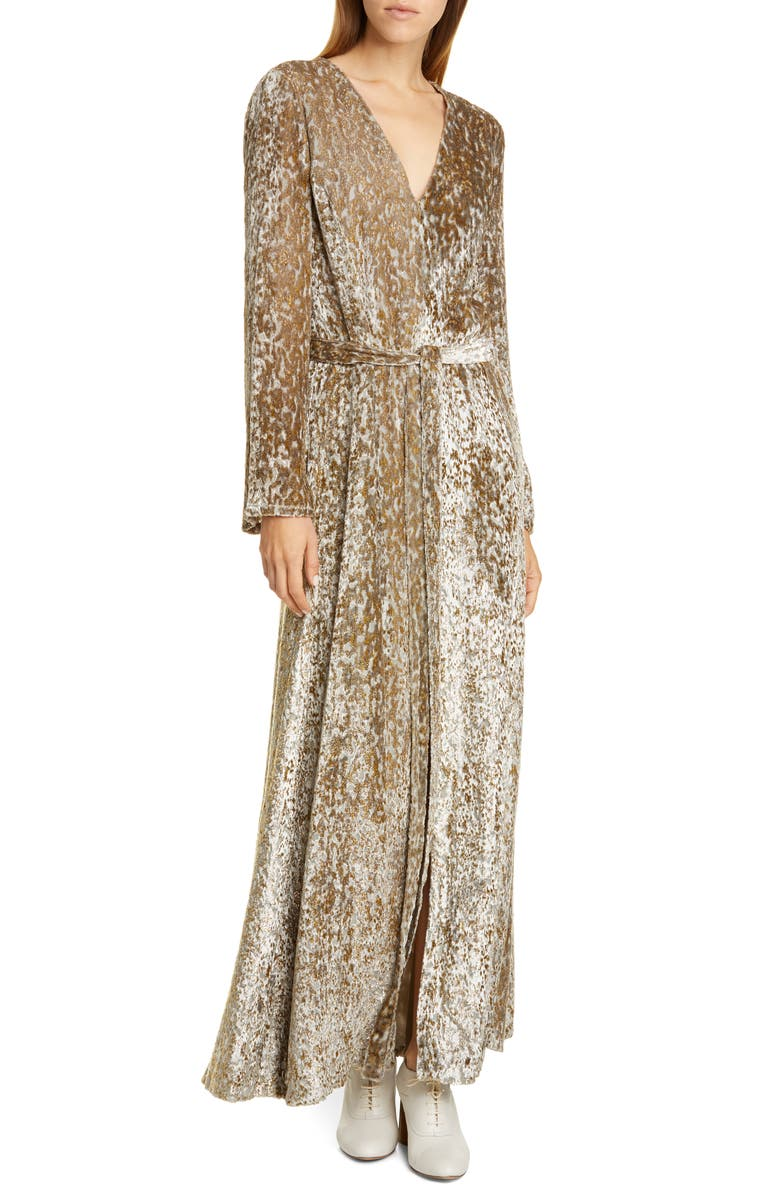 CO Belted Long Sleeve Metallic Velvet Gown, Main, color, GOLD