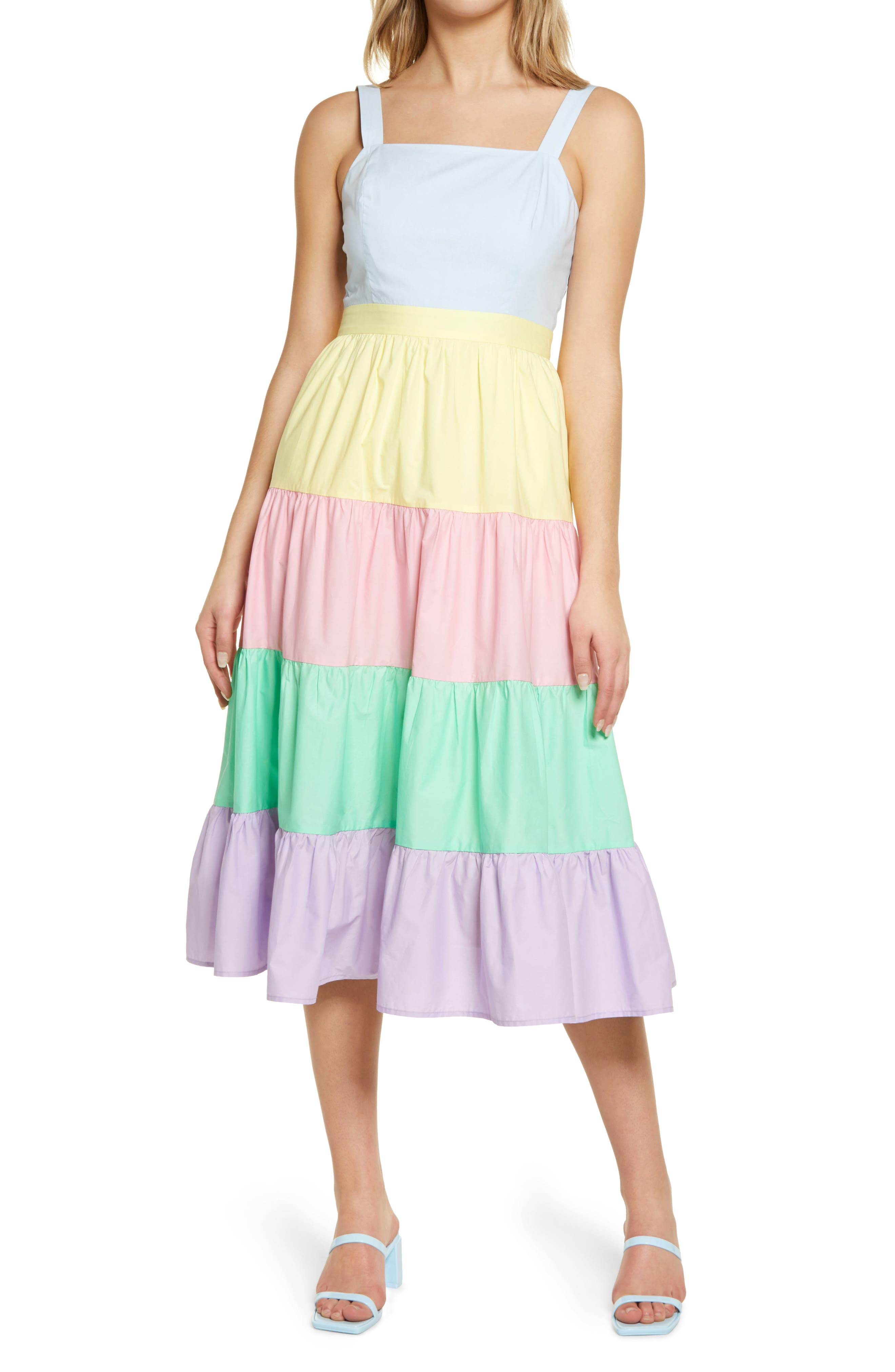 Colorblock Tiered Midi Dress