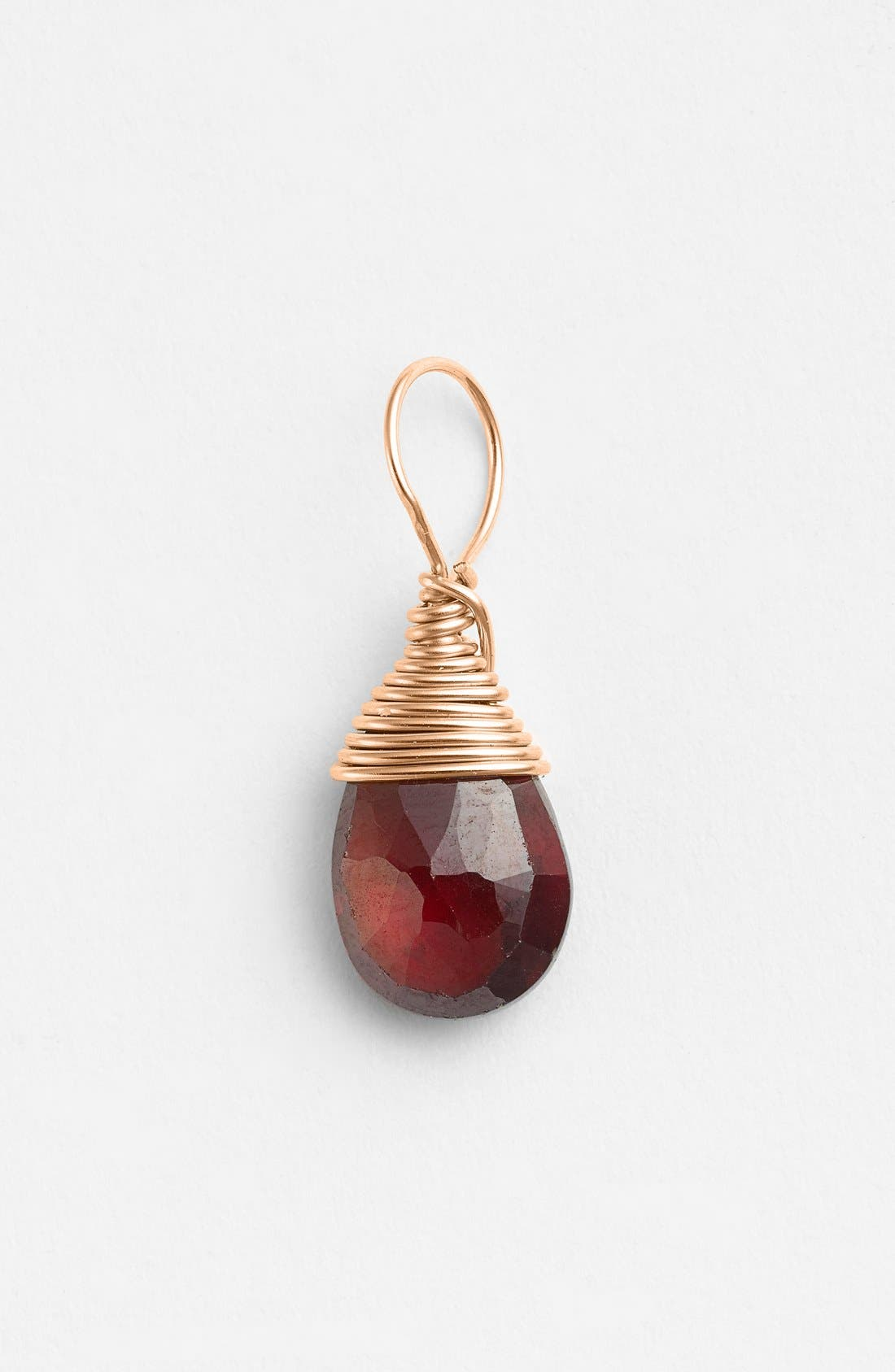 14k-Rose Gold Fill & Semiprecious Stone Charm, Main, color, GARNET