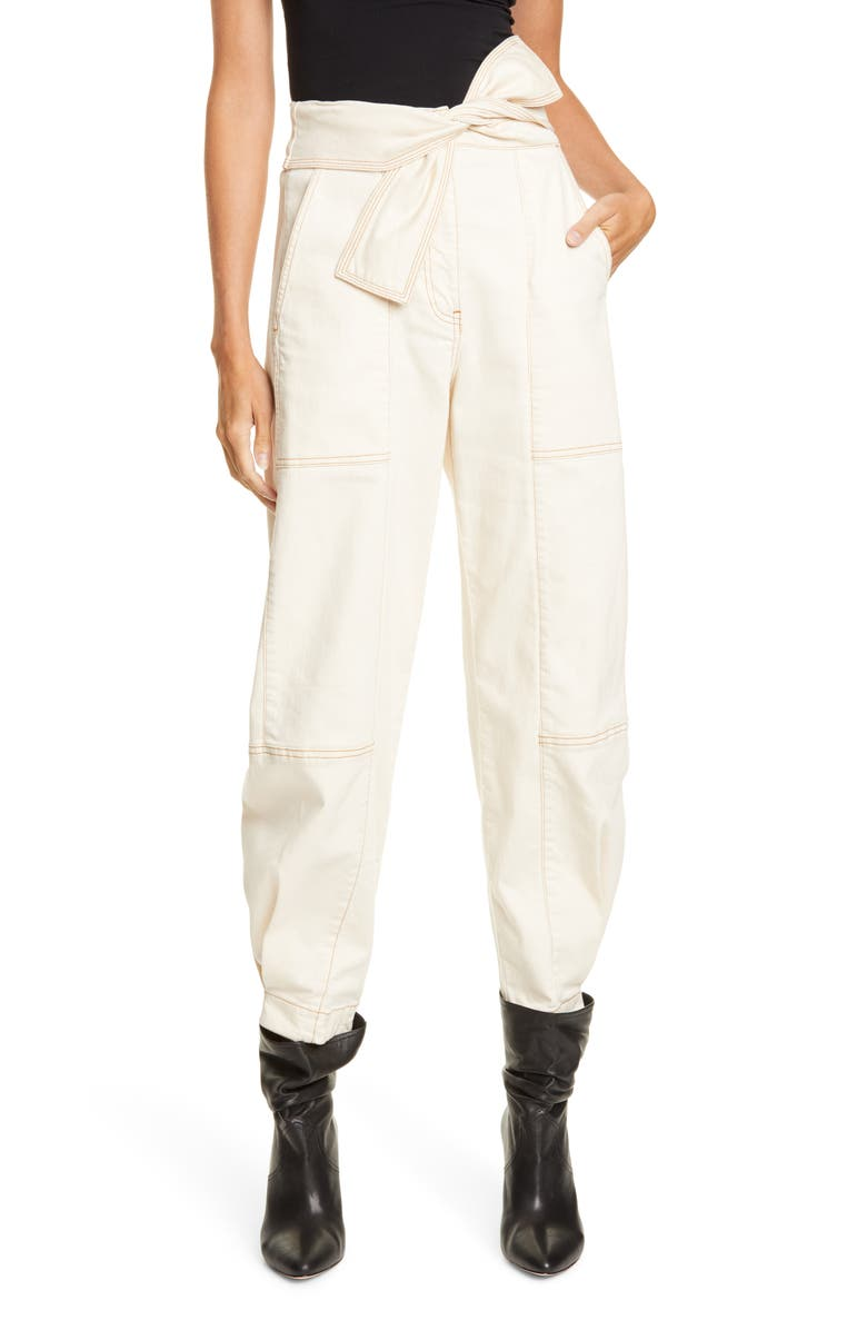 ULLA JOHNSON Storm Tie Waist Tapered Jeans, Main, color, BLANC