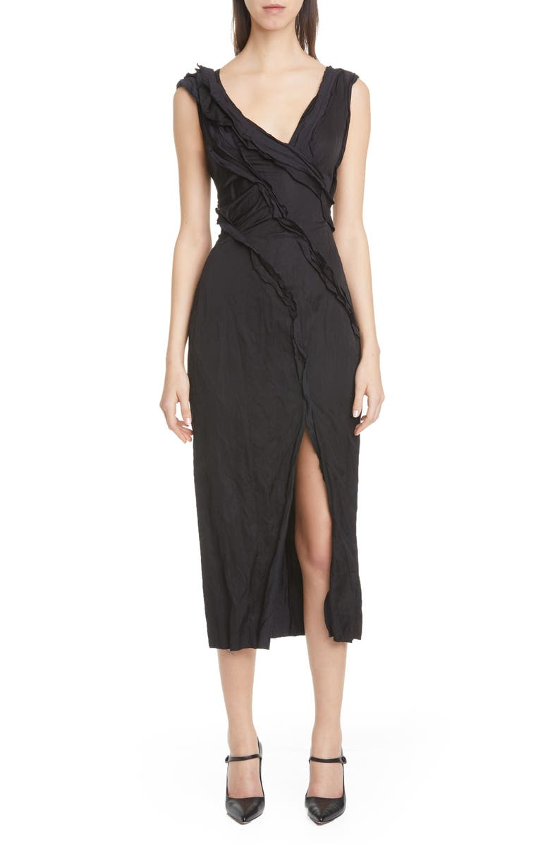 JASON WU COLLECTION Washed Sateen Cocktail Dress, Main, color, BLACK