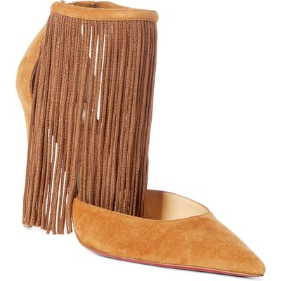 Christian Louboutin Courtain Ankle Fringe Pump, Brown