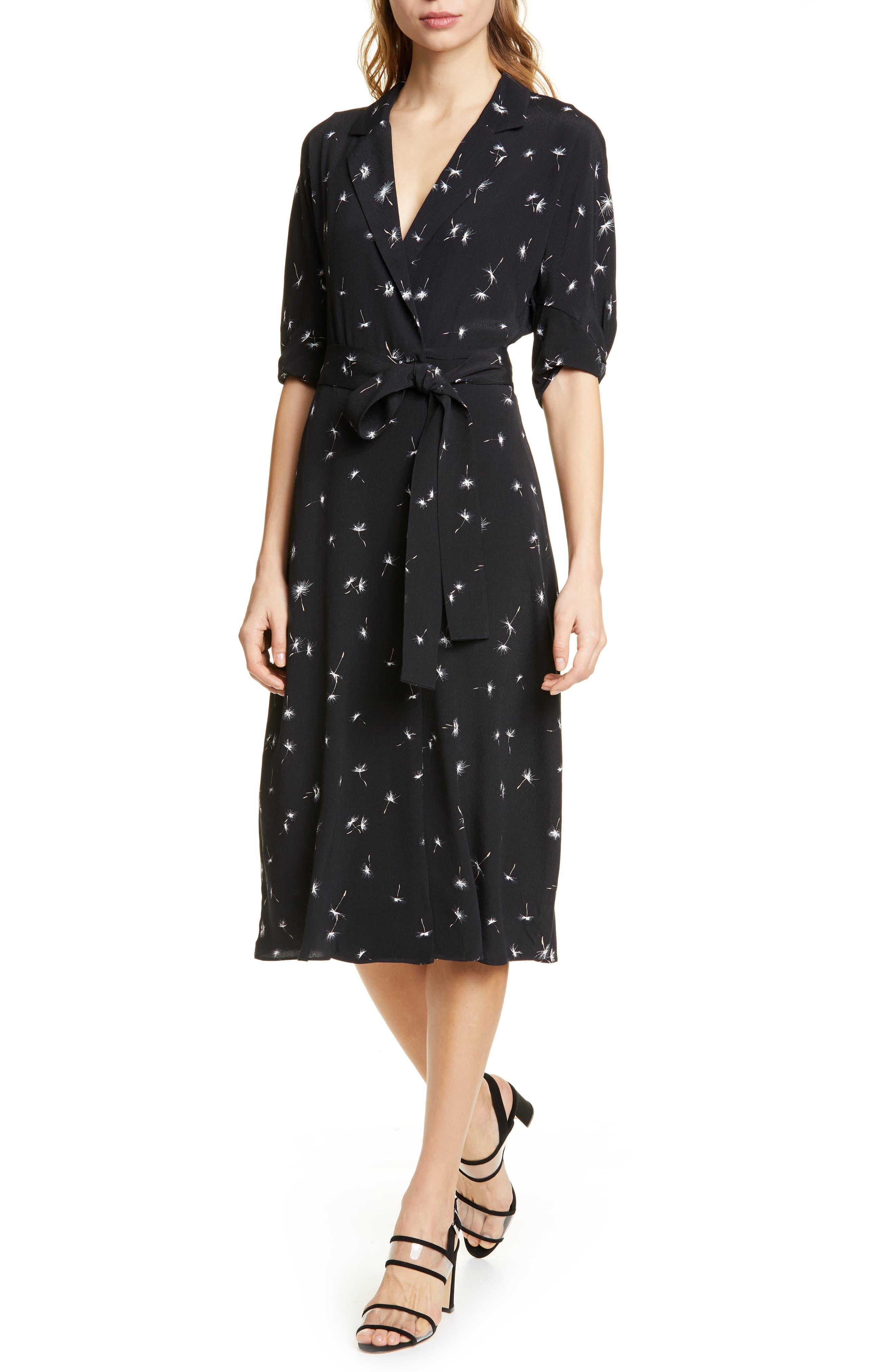 Anitone Faux Wrap Dress, Main, color, TRUE BLACK MULTI