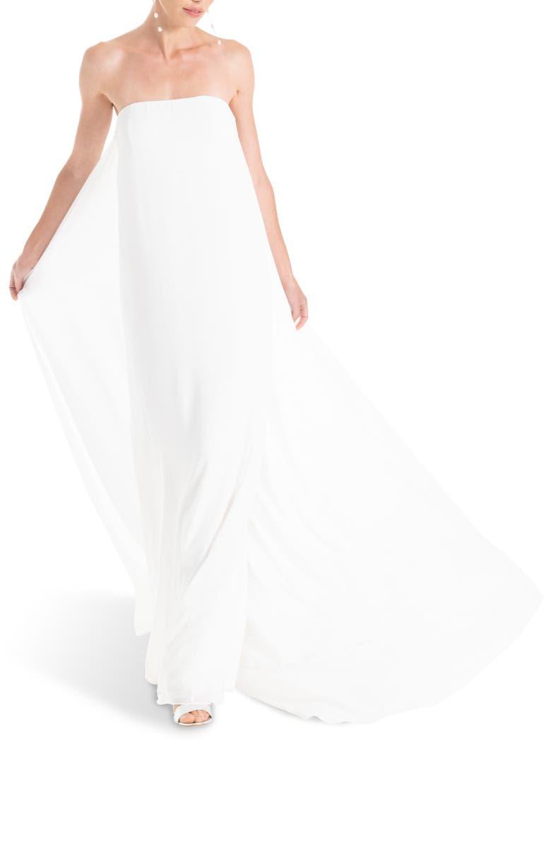 JOANNA AUGUST Joni Strapless Column Wedding Dress, Main, color, WHITE