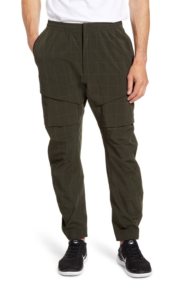 NIKE Tech Pack Windowpane Check Cargo Pants, Main, color, SEQUOIA/ WHITE/ BLACK