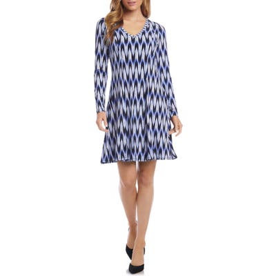 Karen Kane Zigzag Print Long Sleeve A-Line Dress, Blue