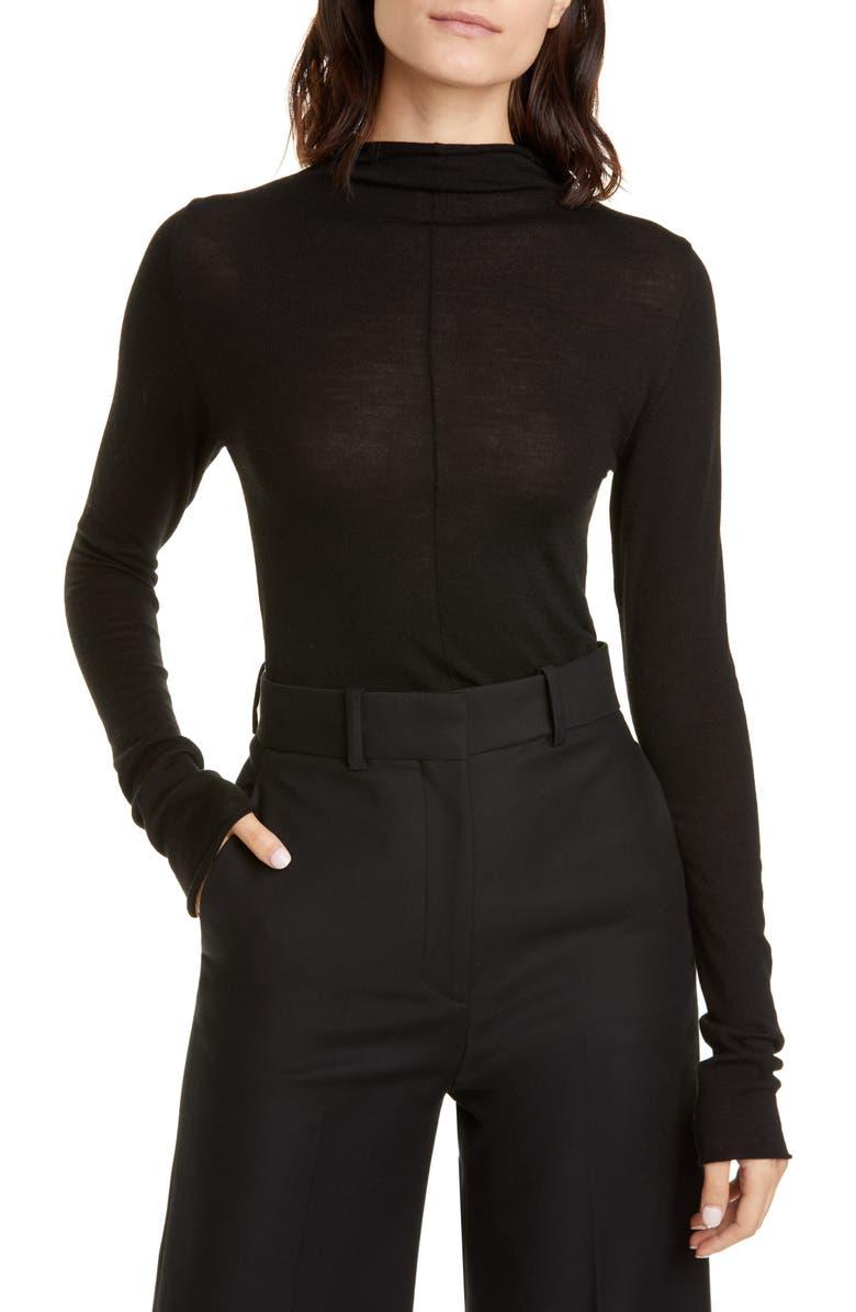 KHAITE Lola Funnel Neck Merino Wool Sweater, Main, color, BLACK