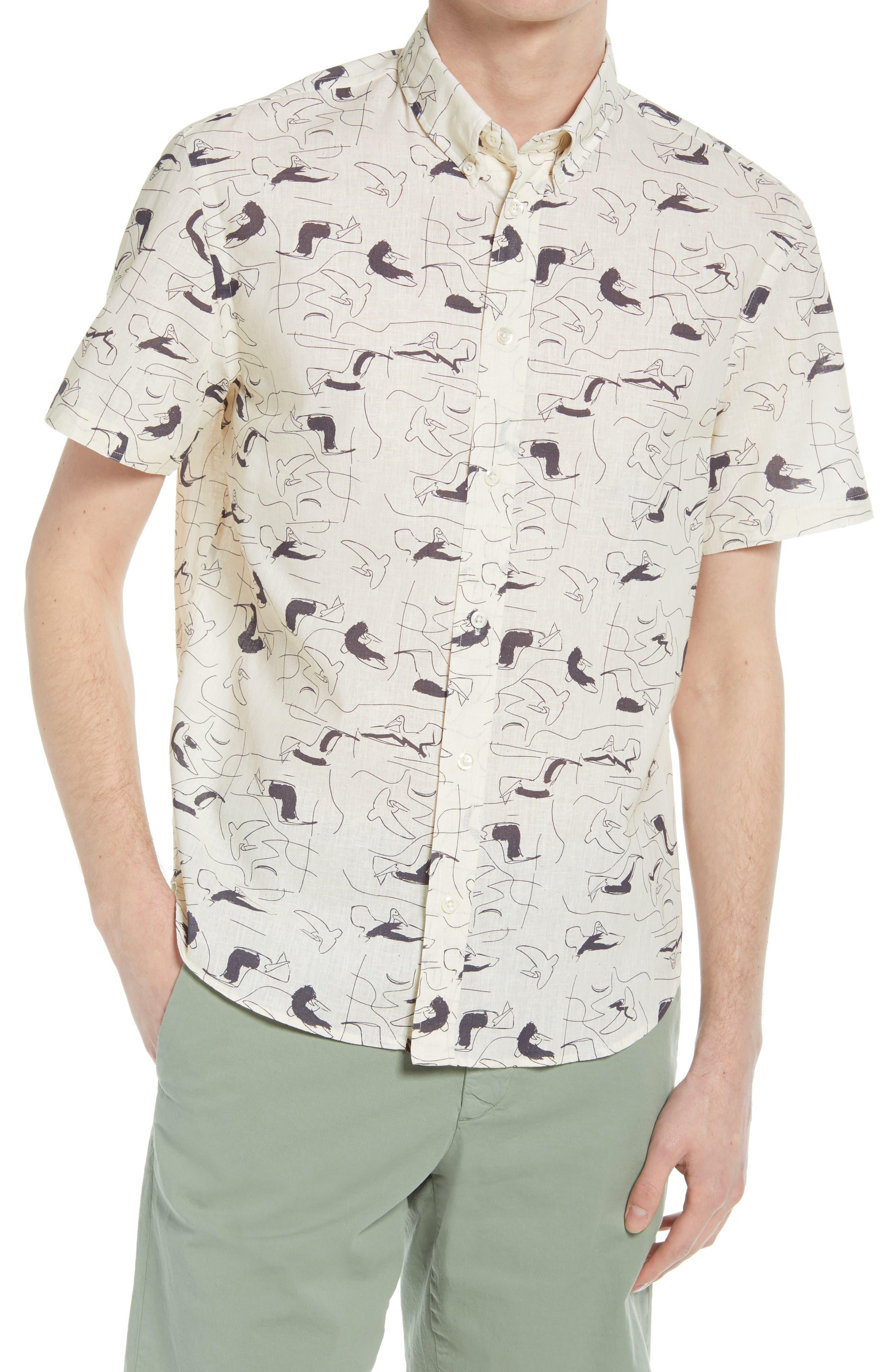 Murphy Pencil Pad Print Short Sleeve Button-Up Shirt