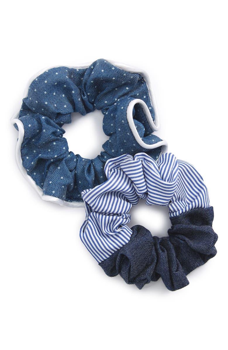 CARA Set of 2 Denim Scrunchies, Main, color, 400