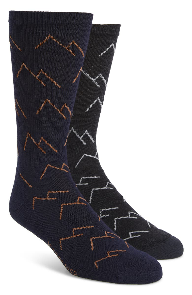 ICEBREAKER Lifestyle Mountains 2-Pack Merino Wool Blend Light Crew Socks, Main, color, JET HEATHER/ MIDNIGHT NAVY