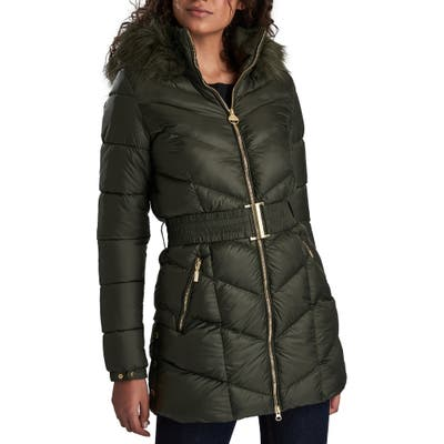 Barbour International Highpoint Quilted Hooded Puffer Jacket, US / 12 UK - Green